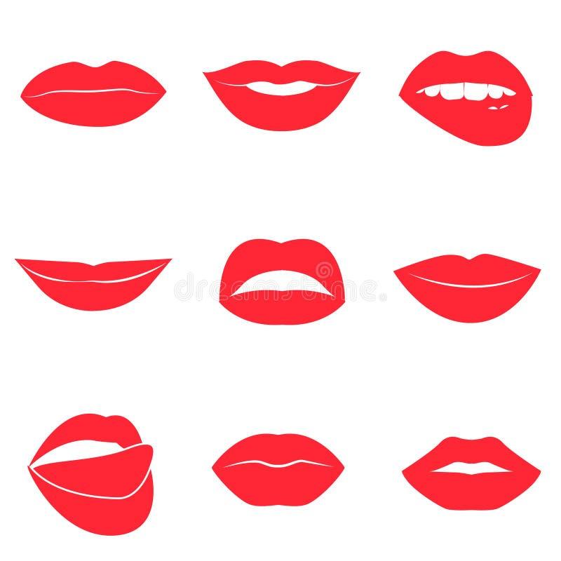 Insieme delle labbra di rosso di fascino Bella raccolta femminile delle labbra illustrazione di stock