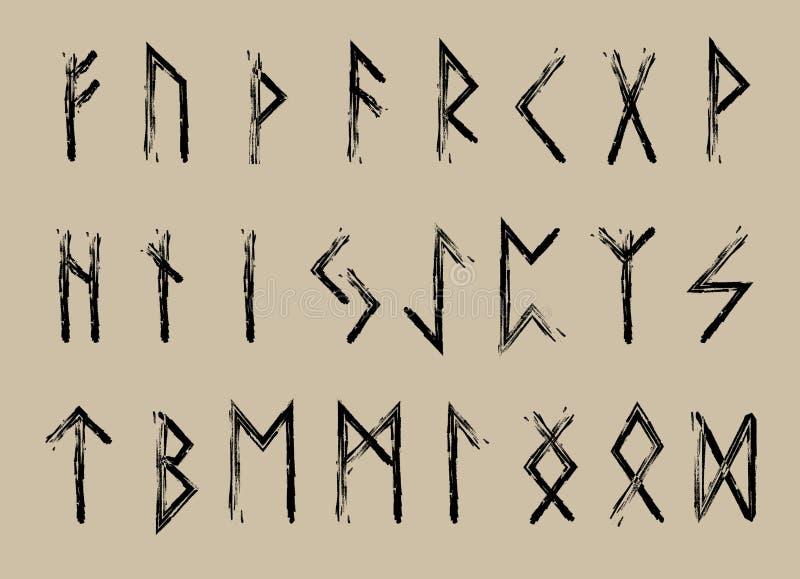 Insieme delle lettere, alfabeto di Rune delle rune Alfabeto runico Scrittura antica Futhark Illustrazione di vettore illustrazione vettoriale