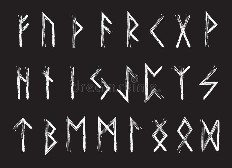 Insieme delle lettere, alfabeto di Rune delle rune Alfabeto runico Scrittura antica Futhark Illustrazione di vettore royalty illustrazione gratis