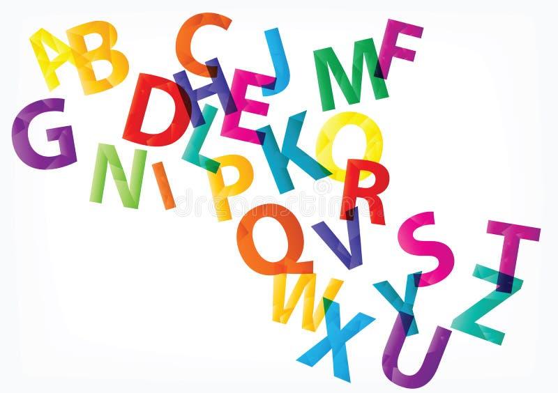 Insieme delle lettere basse di alfabeto dei poligoni di vettore d'avanguardia isolate su fondo bianco illustrazione di stock
