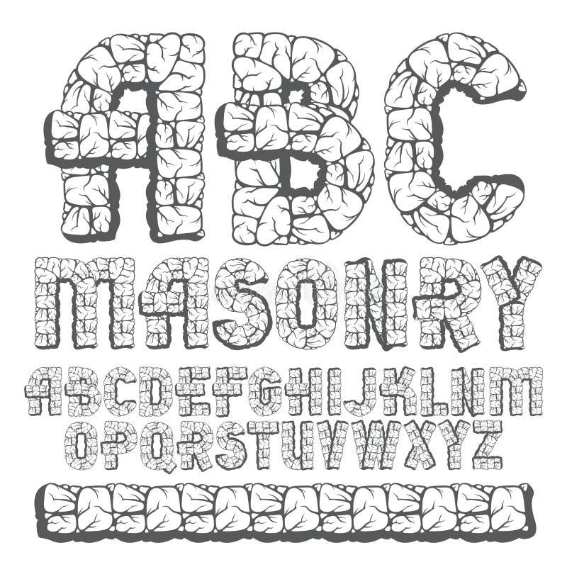 Insieme delle lettere capitali di alfabeto inglese di vecchio vettore d'avanguardia, ABC i royalty illustrazione gratis