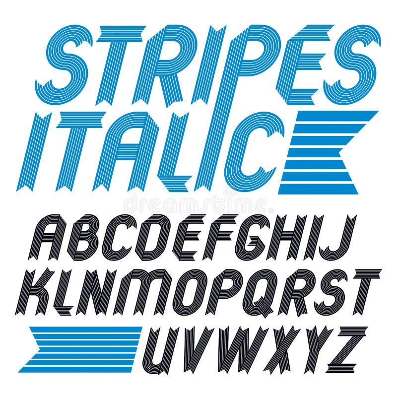 Insieme delle lettere capitali di alfabeto di vettore d'avanguardia isolate Il grassetto corsivo geometrico la fonte, scritto dal illustrazione di stock