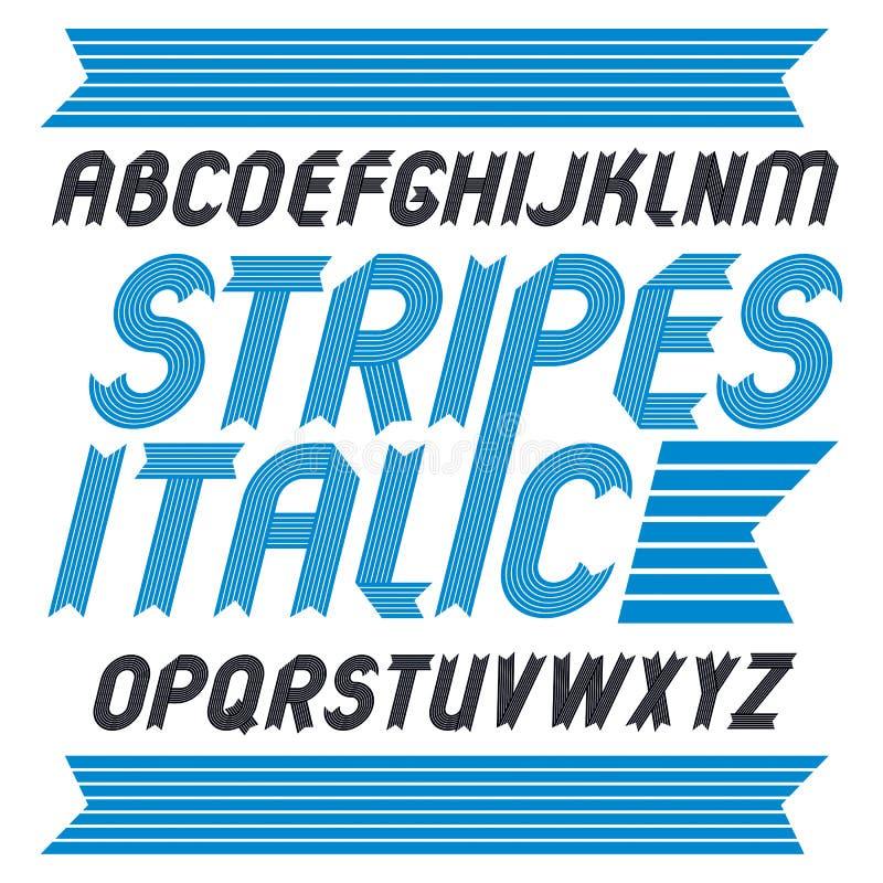 Insieme delle lettere capitali di alfabeto di vettore d'avanguardia isolate Il grassetto corsivo geometrico la fonte, scritto dal illustrazione vettoriale