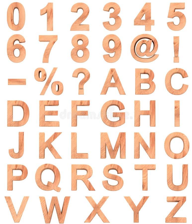 Insieme delle lettere di legno e dei numeri di alfabeto inglese 3D da zero a nove isolato su fondo bianco immagine stock