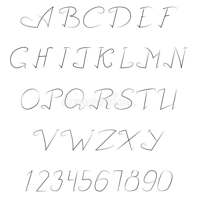 Insieme delle lettere e dei numeri illustrazione di stock