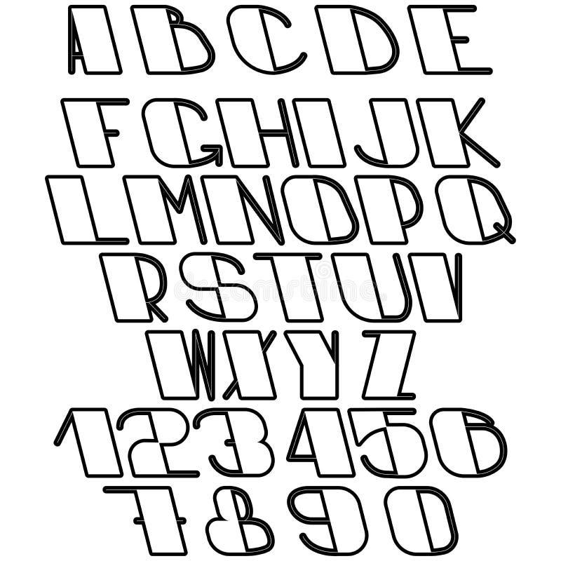 Insieme delle lettere e dei numeri illustrazione vettoriale