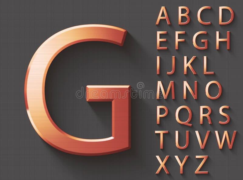 Insieme delle lettere inglesi maiuscole del rame 3D illustrazione vettoriale
