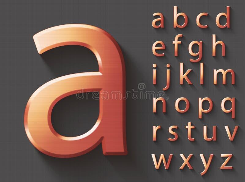 Insieme delle lettere inglesi minuscole del rame 3D illustrazione di stock