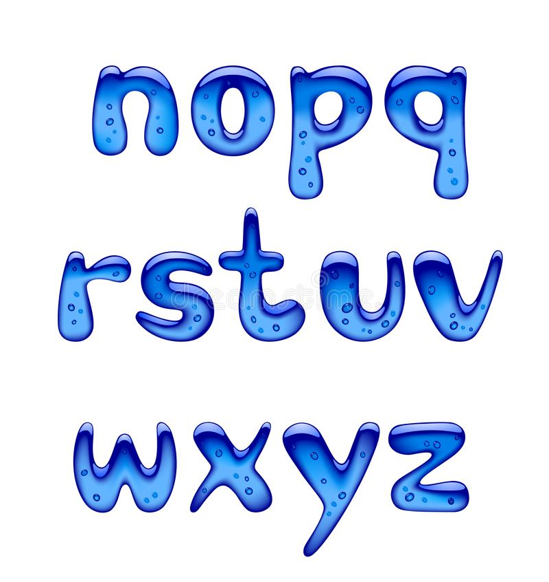 Insieme delle lettere minuscole blu di alfabeto del gel, del ghiaccio e del caramello isolate illustrazione di stock