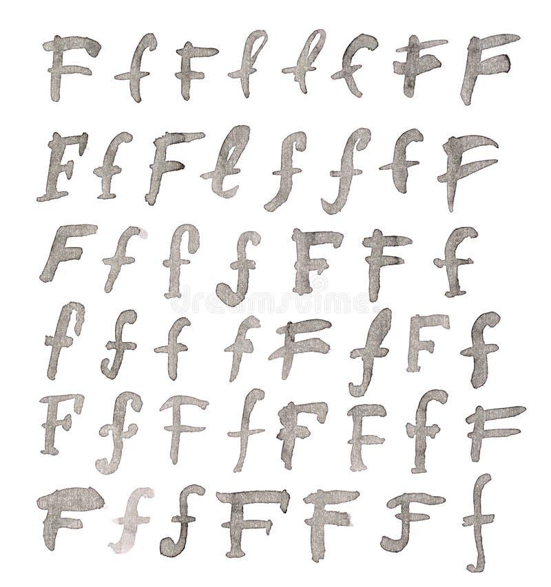 Insieme delle lettere multiple di F isolate fotografia stock