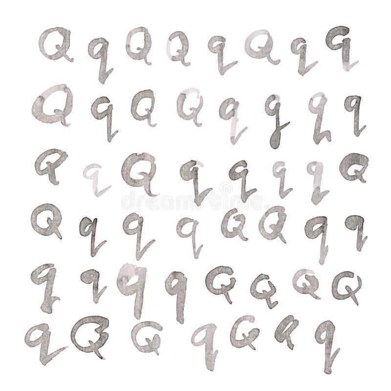 Insieme delle lettere multiple di Q isolate fotografia stock