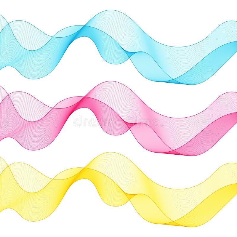 Insieme delle linee blu, rosa, gialle di Wave isolate estratto per bianco illustrazione di stock