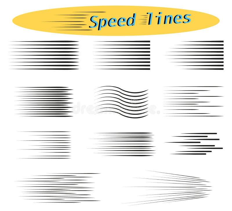 Insieme delle linee di velocità Elementi di progettazione per la manga ed i fumetti Illustrazioni di vettore per i vostri progett immagine stock