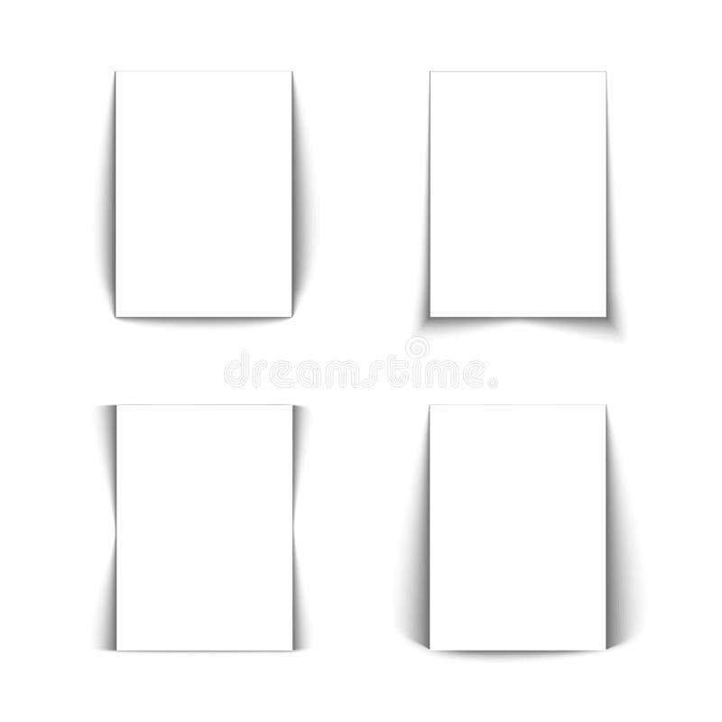 Insieme delle liste bianche di carta. illustrazione di stock