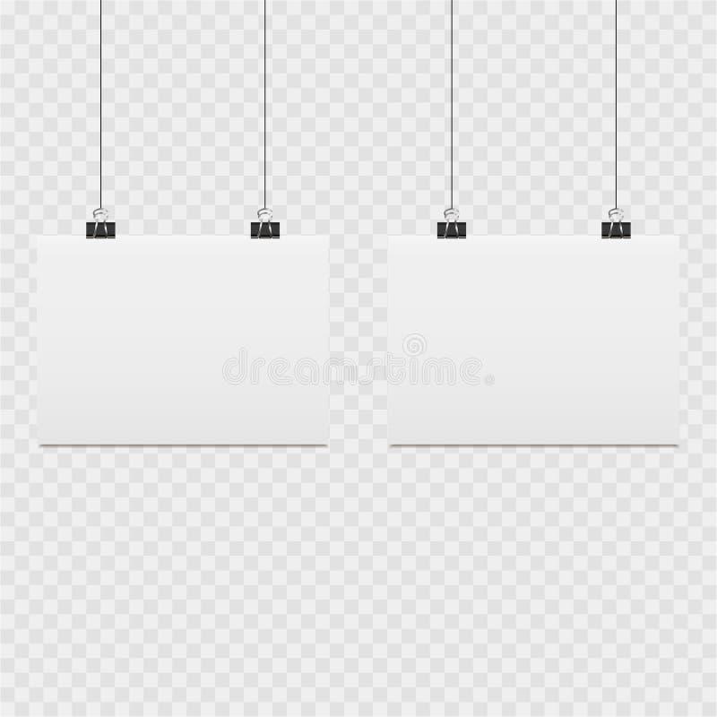 Insieme delle liste di carta con il perno su fondo trasparente illustrazione vettoriale