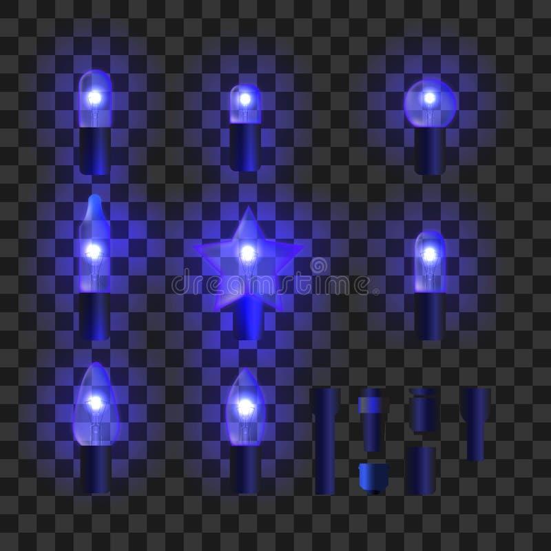 Insieme delle luci brillanti blu della ghirlanda illustrazione di stock