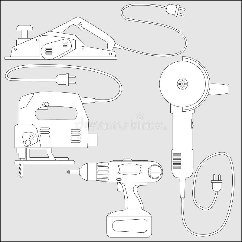 Insieme delle macchine utensili - schizzo di vettore del profilo illustrazione vettoriale