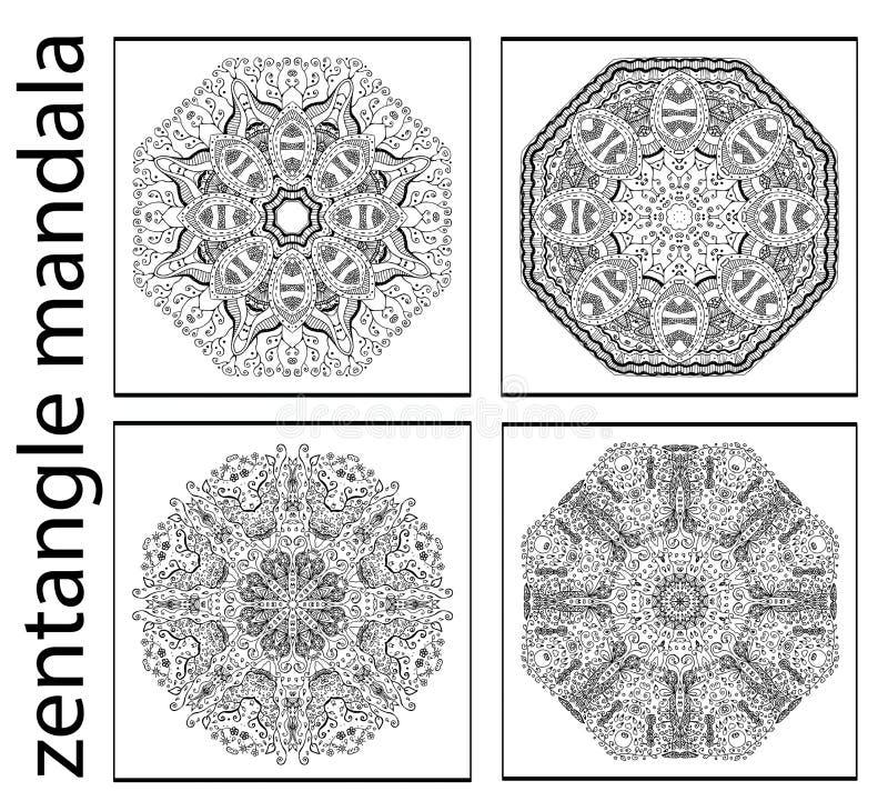 Insieme delle mandale astratte in bianco e nero dello zentangle, modello etnico circolare illustrazione di stock