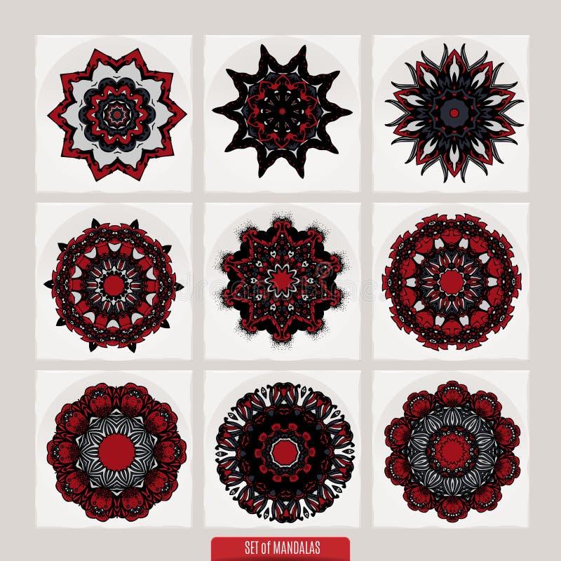 Insieme delle mandale Ornamenti rotondi decorativi modelli di terapia di Anti-sforzo Elementi di progettazione del tessuto Logos  illustrazione di stock