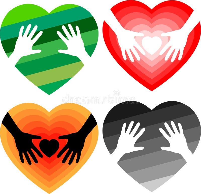 Insieme delle mani amiche nel cuore illustrazione vettoriale
