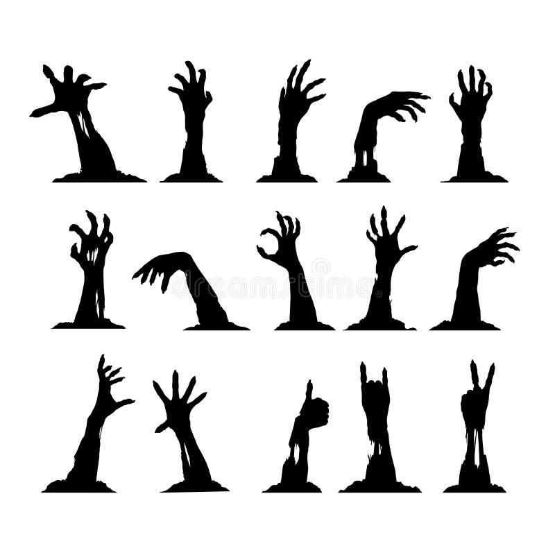 Insieme delle mani dello zombie illustrazione di stock
