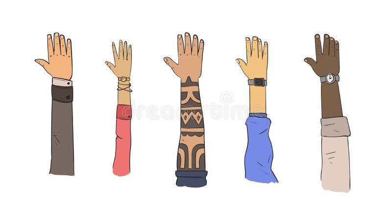 Insieme delle mani delle etnie e degli stili di vita differenti Illustrazione piana di vettore Isolato su priorità bassa bianca royalty illustrazione gratis