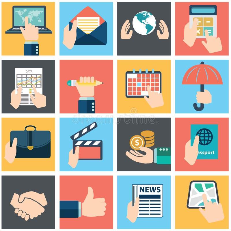 Insieme delle mani facendo uso di servizio di Internet e del commercio elettronico di affari Smartphone e compresse royalty illustrazione gratis