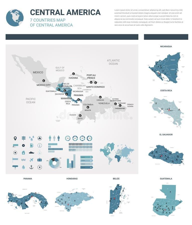 Insieme delle mappe di vettore Il livello ha dettagliato 7 mappe dei paesi in America Centrale con divisione amministrativa e le  royalty illustrazione gratis