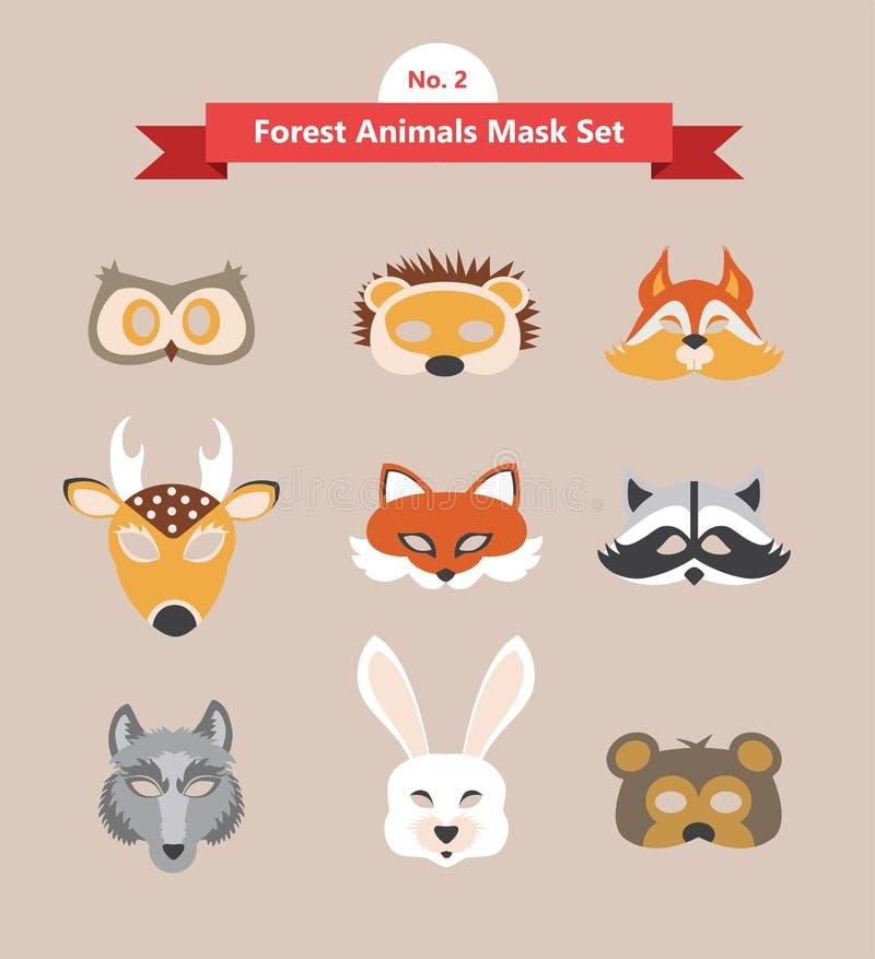 Insieme delle maschere animali per la festa in costume royalty illustrazione gratis
