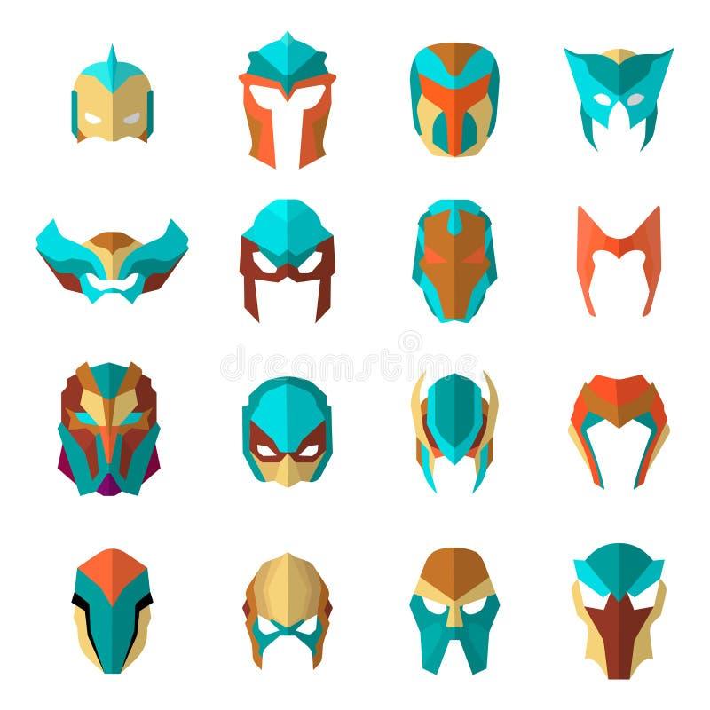 Insieme delle maschere dell'eroe eccellente nello stile piano Grande supereroe del fumetto della raccolta Vettore illustrazione vettoriale