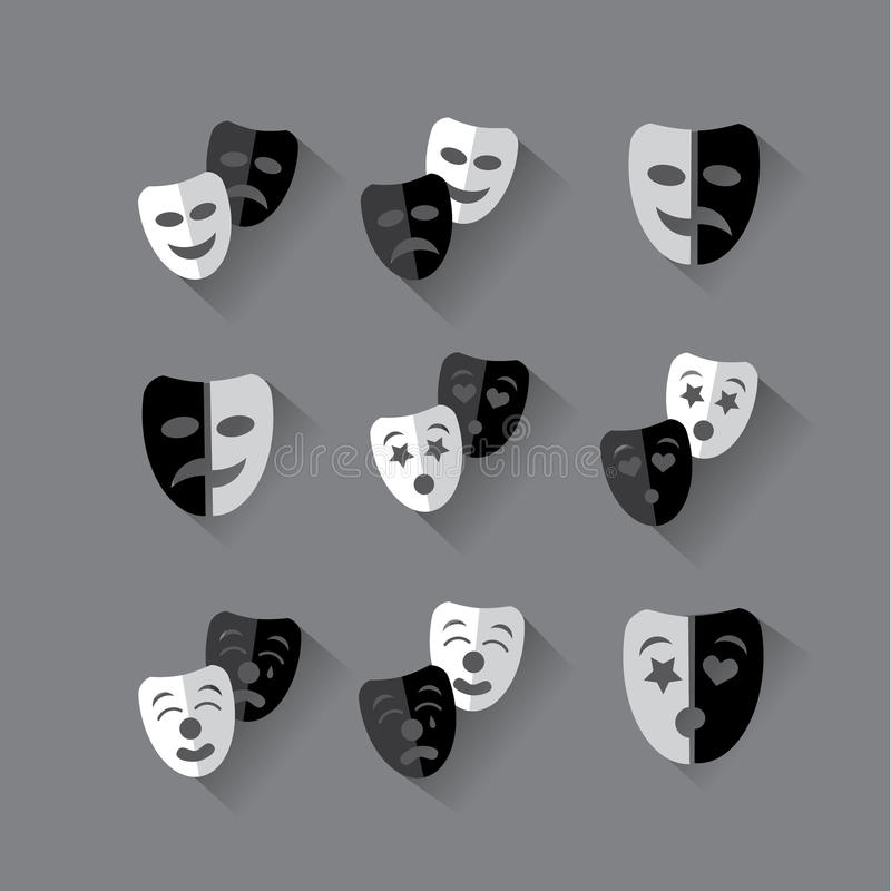 Insieme delle maschere teatrali in bianco e nero di progettazione piana royalty illustrazione gratis