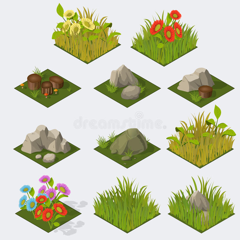 Insieme delle mattonelle isometriche del paesaggio illustrazione vettoriale