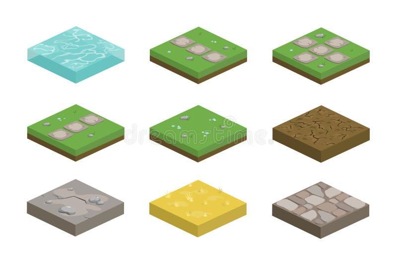 Insieme delle mattonelle isometriche di architettura del pæsaggio con differenti superfici royalty illustrazione gratis