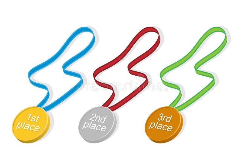 Insieme delle medaglie con differenti nastri royalty illustrazione gratis
