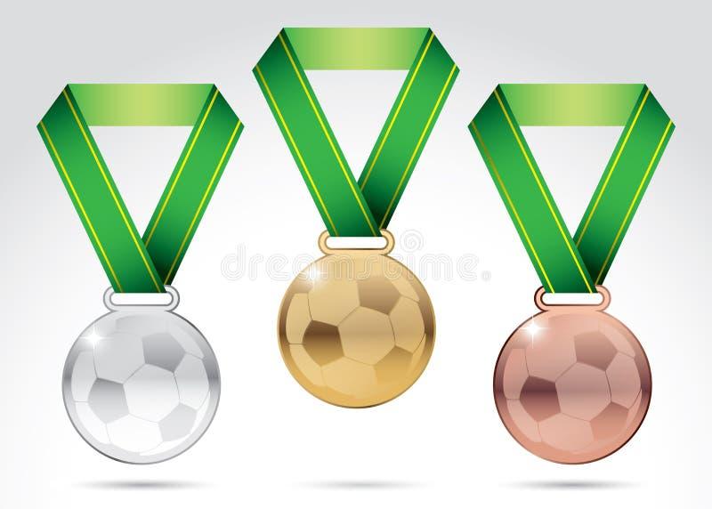 Insieme delle medaglie di calcio illustrazione di stock