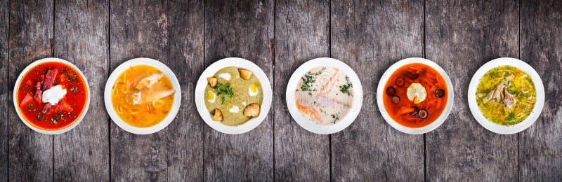 Insieme delle minestre dalle cucine mondiali, alimento sano fotografia stock