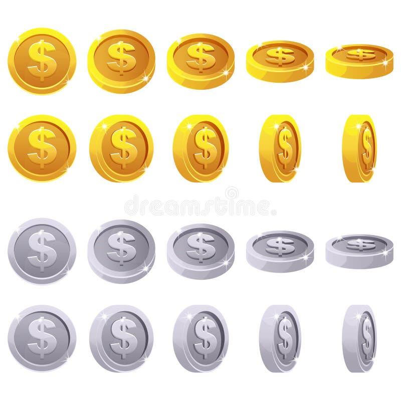 Insieme delle monete metalliche 3D, rotazione del fumetto del gioco di animazione di vettore illustrazione di stock