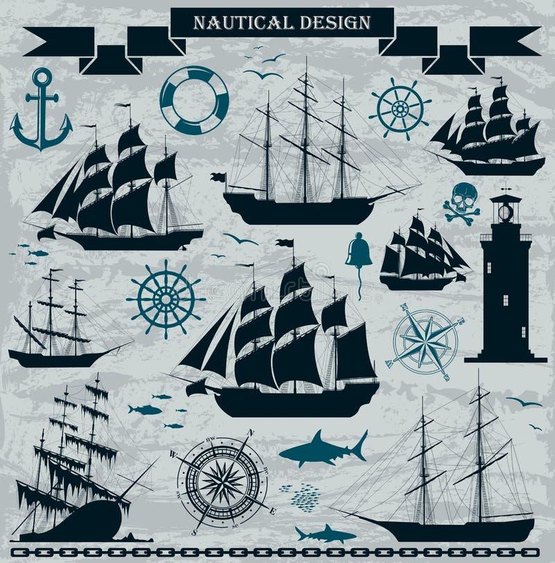 Insieme delle navi di navigazione con gli elementi nautici illustrazione vettoriale