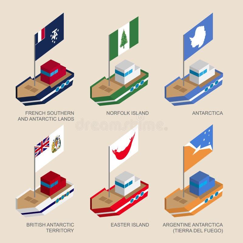 Insieme delle navi isometriche con le bandiere dei paesi e dei territori illustrazione di stock