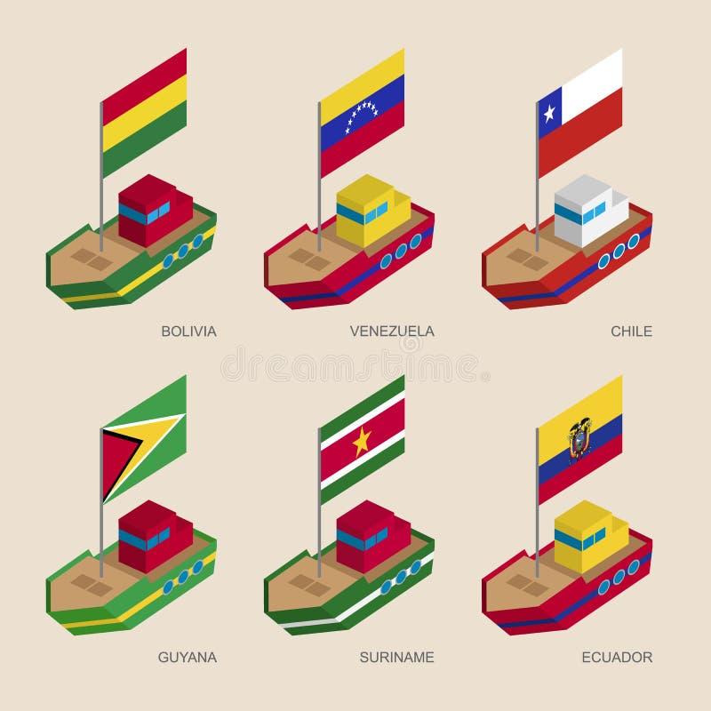 Insieme delle navi isometriche con le bandiere dei paesi europei illustrazione vettoriale