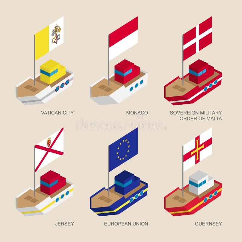 Insieme delle navi isometriche con le bandiere dei paesi europei royalty illustrazione gratis
