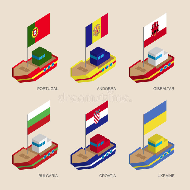 Insieme delle navi isometriche con le bandiere dell'Europa centrale illustrazione vettoriale