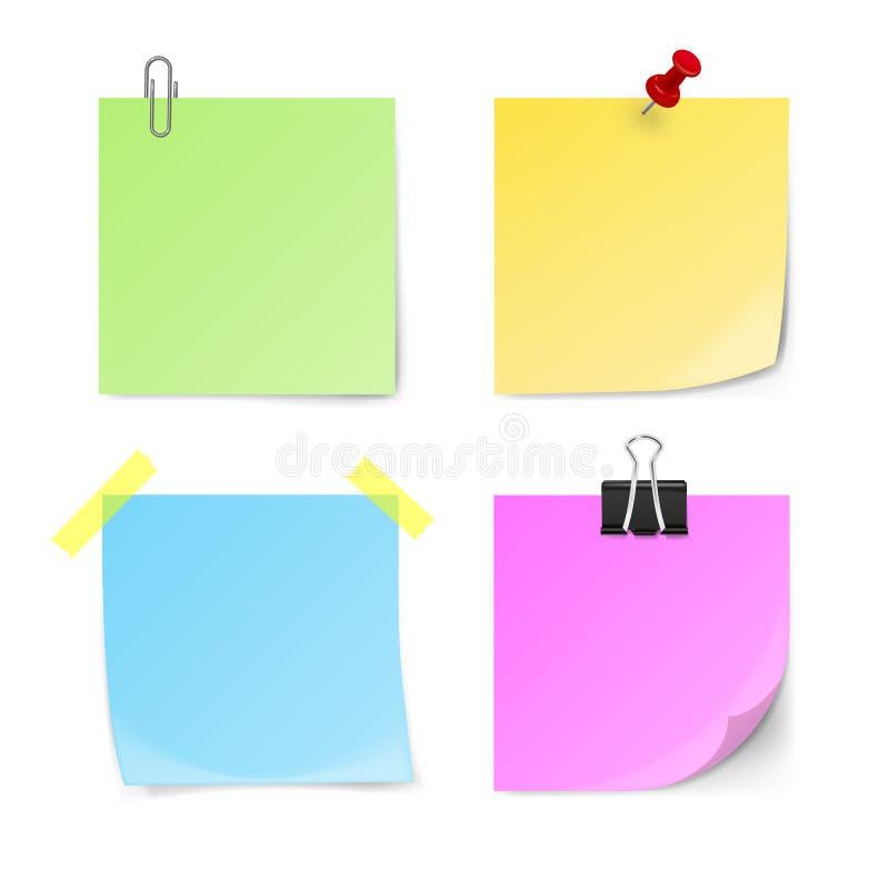 Insieme delle note appiccicose verdi, gialle, blu, viola illustrazione di stock