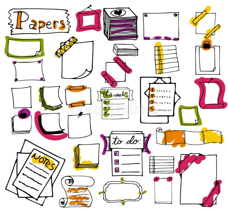 Insieme delle note di carta disegnate a mano, liste, nel vettore illustrazione di stock