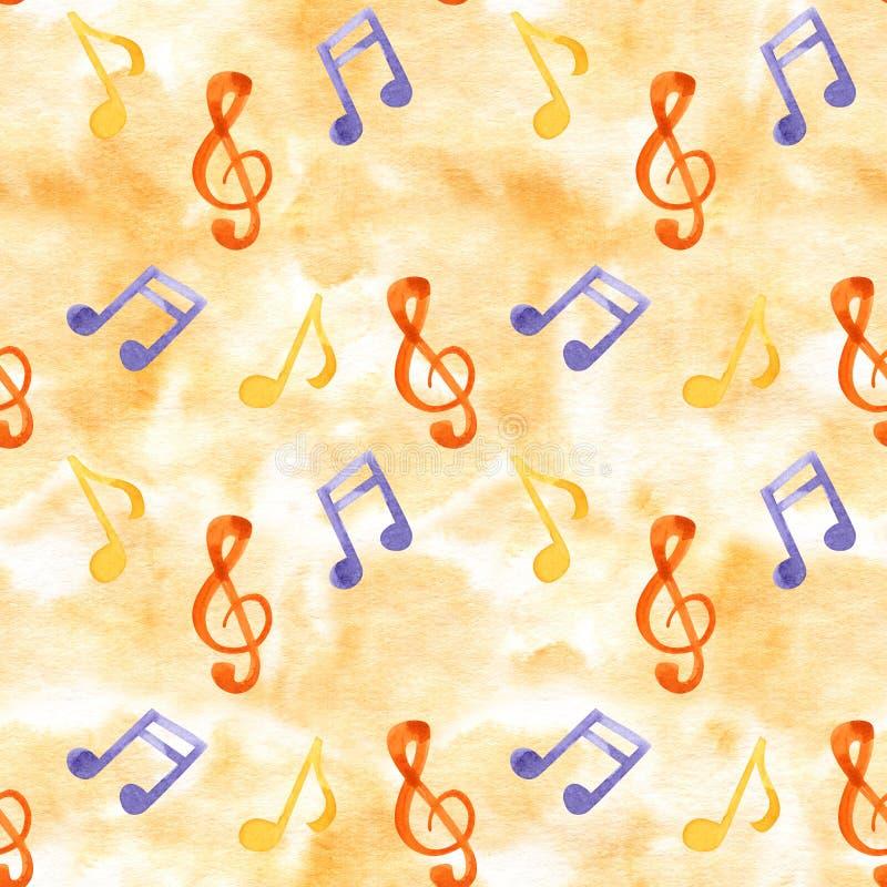 Insieme delle note e di chiavi di musica dell'illustrazione dell'acquerello Reticolo senza giunte illustrazione di stock
