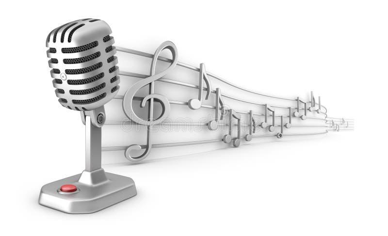Insieme delle note musicali del personale e del microfono royalty illustrazione gratis