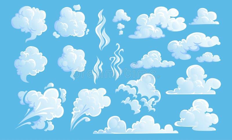 Insieme delle nuvole del vapore Nuvole bianche del cielo e del vapore del fumetto su fondo blu Illustrazione di vettore illustrazione vettoriale