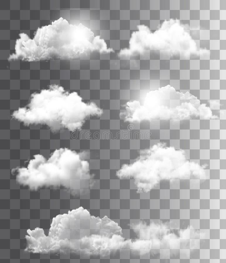 Insieme delle nuvole differenti trasparenti. illustrazione di stock