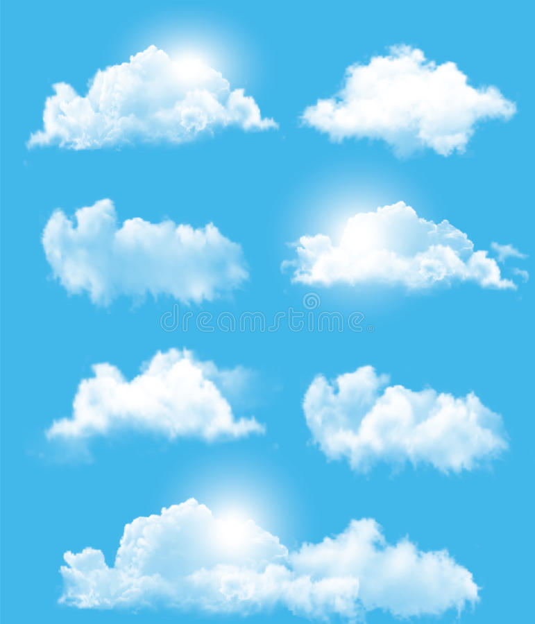 Insieme delle nuvole differenti trasparenti royalty illustrazione gratis
