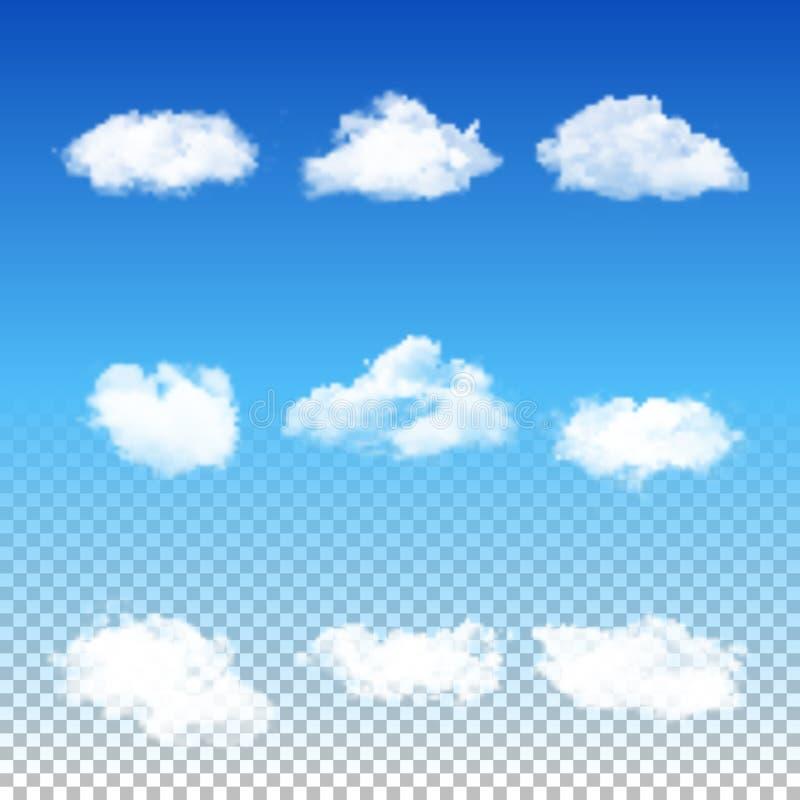 Insieme delle nuvole differenti trasparenti illustrazione vettoriale